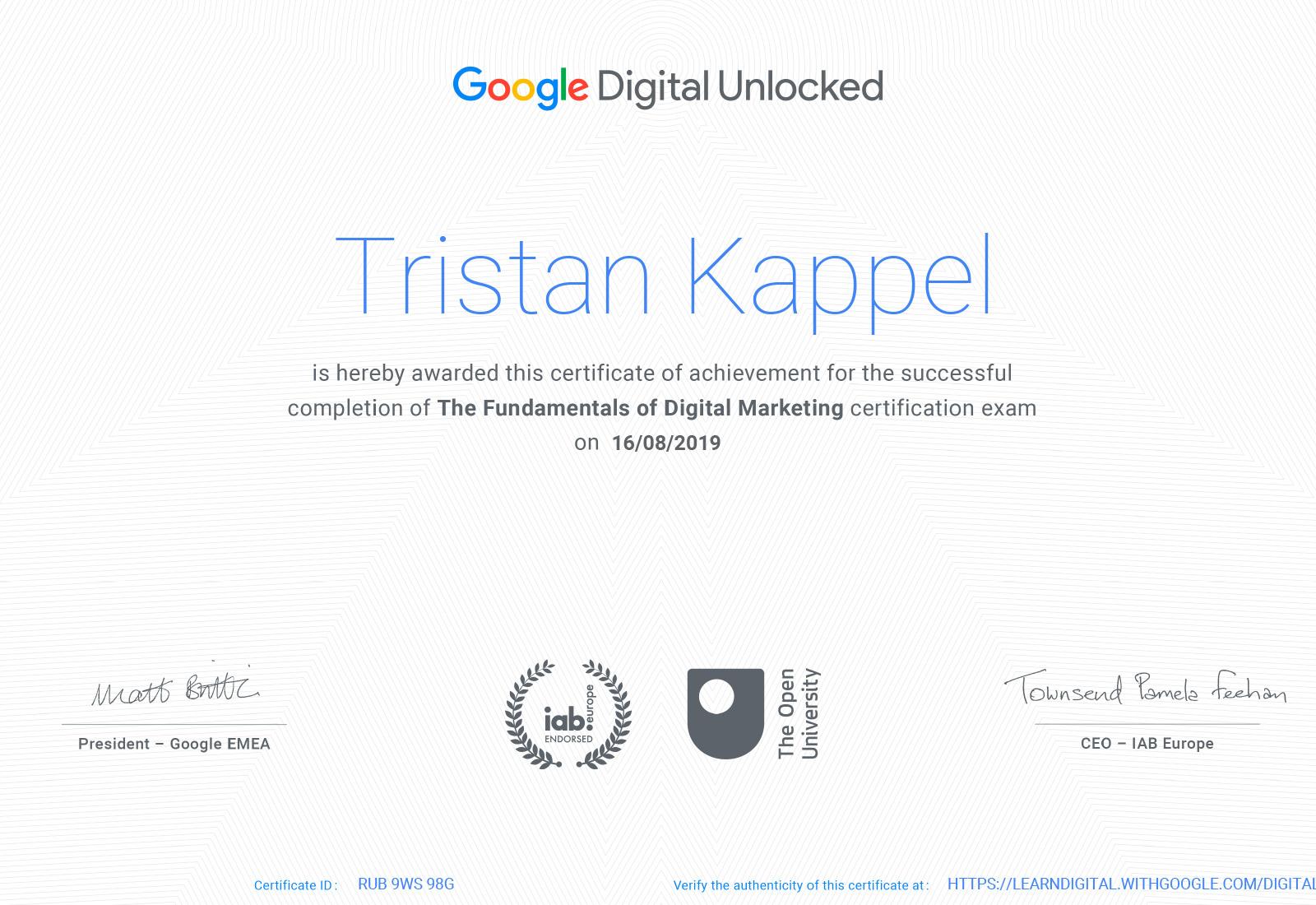 Digital Marketing Zertifikat