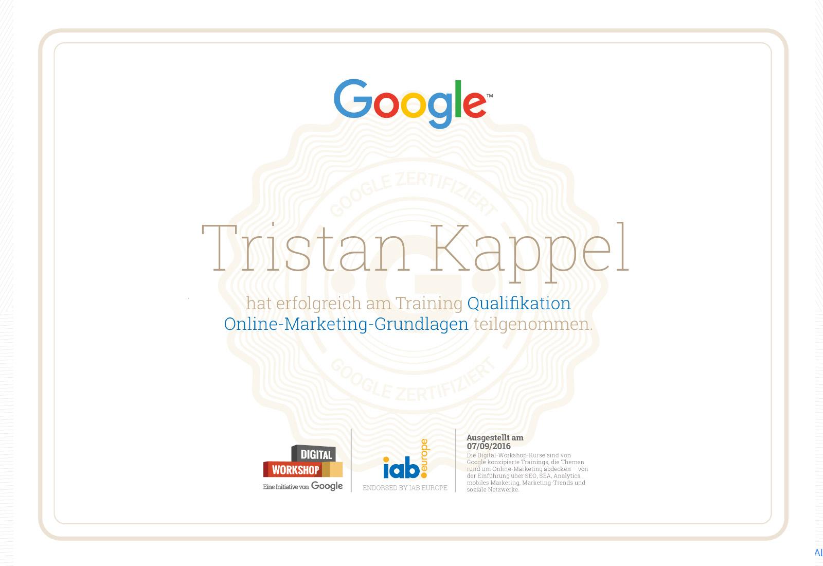 Online Marketing Zertifikat