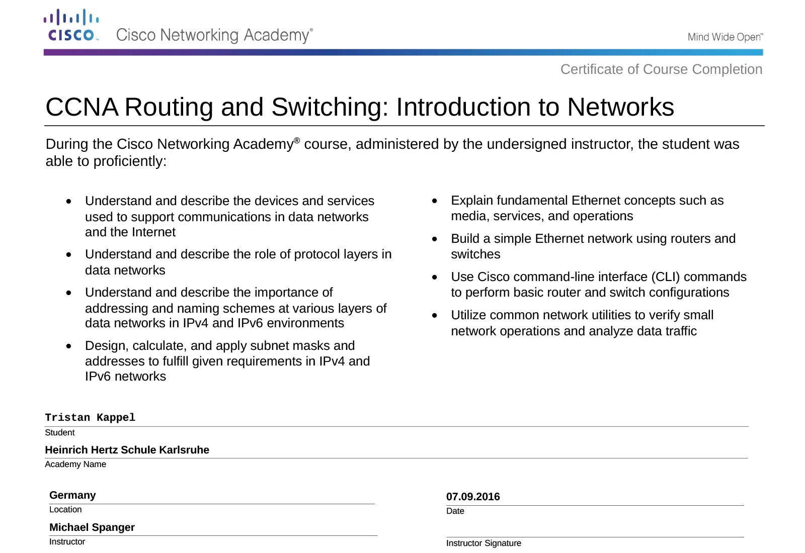 Routing&Switching Zertifikat